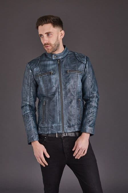 Men's Leather Biker Jacket in Blue :Chicago